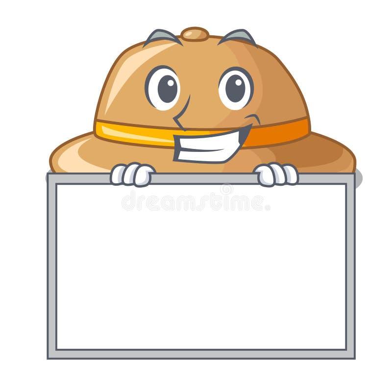 Mueca con el sombrero del corcho del tablero aislado en la mascota stock de ilustración
