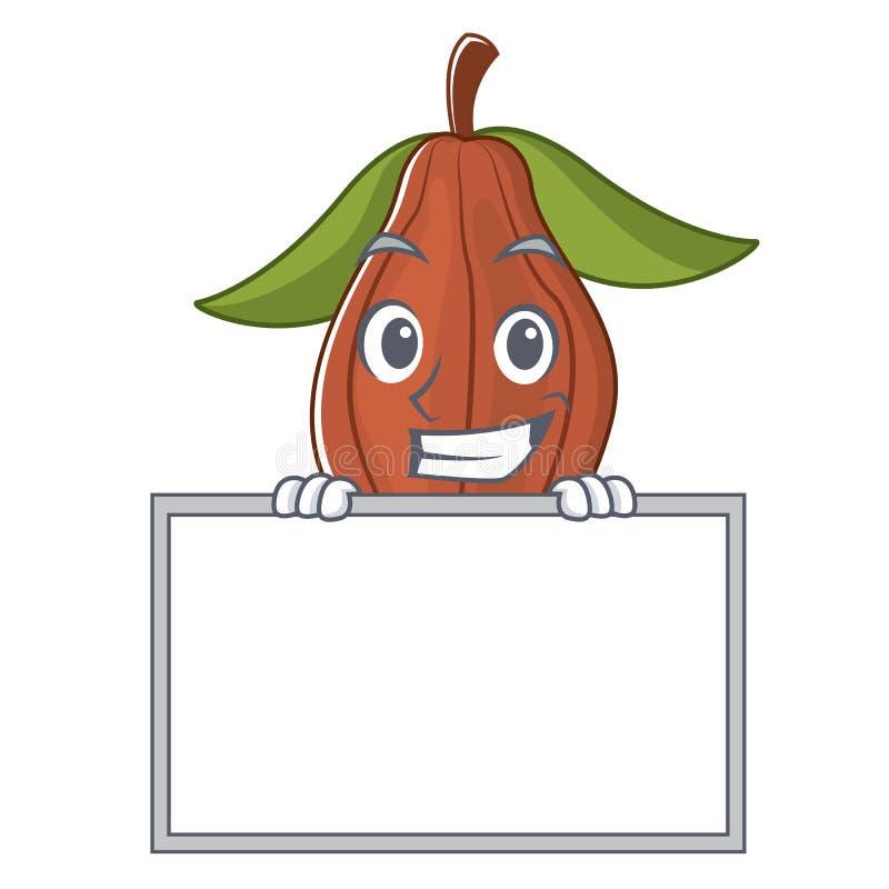 Mueca con la historieta del carácter de la haba del cacao del tablero ilustración del vector