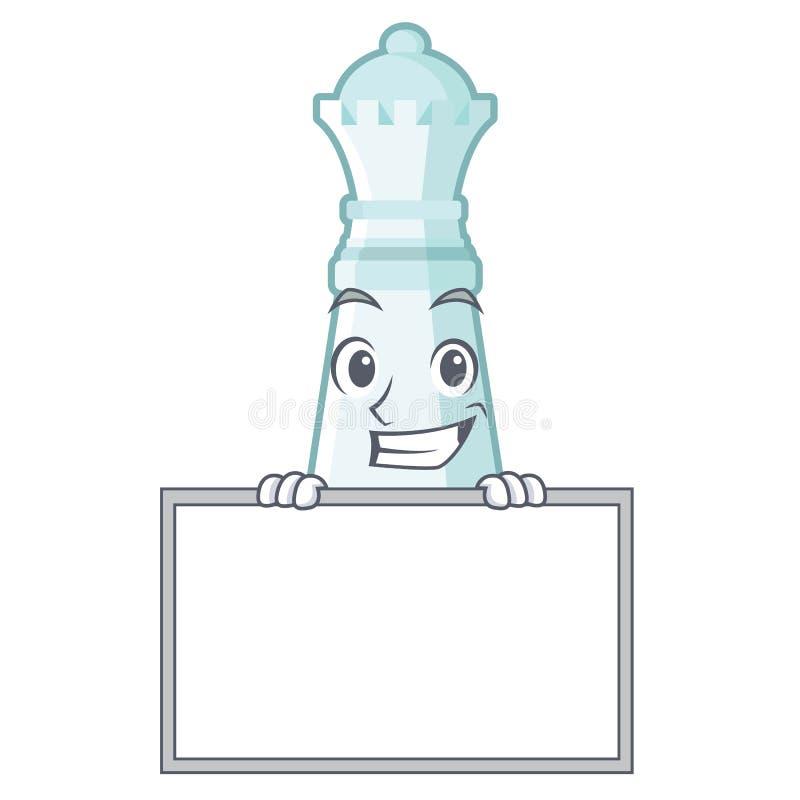 Mueca con la reina del ajedrez del tablero aislada en el carácter ilustración del vector