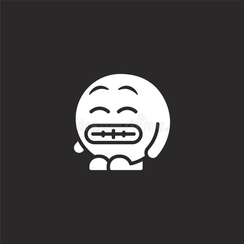 mueca del icono Llenado haciendo muecas el icono para el diseño y el móvil, desarrollo de la página web del app mueca del icono d stock de ilustración