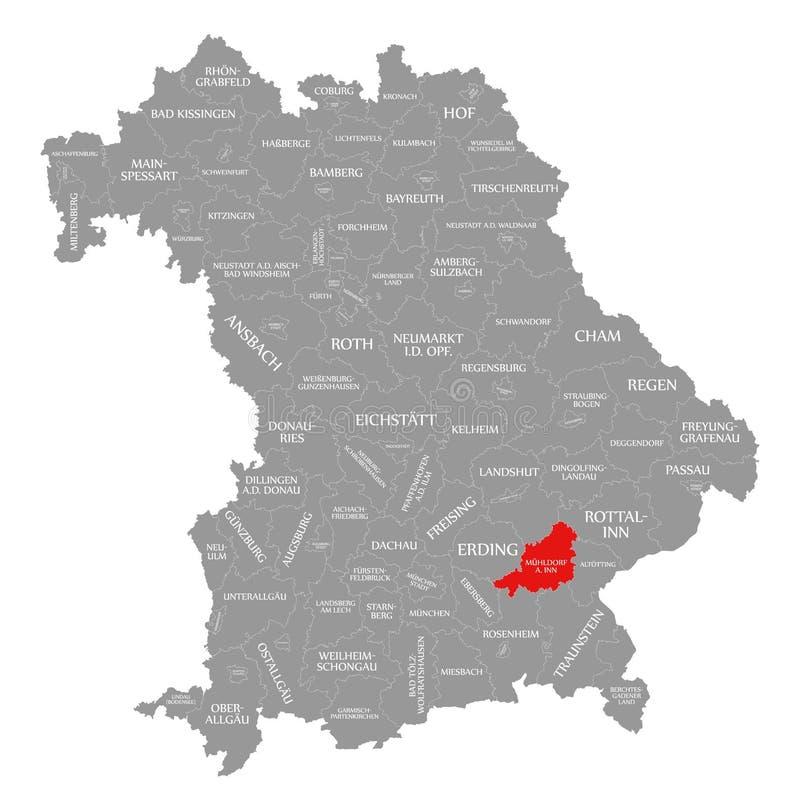 Muehldorf jest austeria okręgu administracyjnego czerwienią podkreślającym w mapie Bavaria Niemcy ilustracji