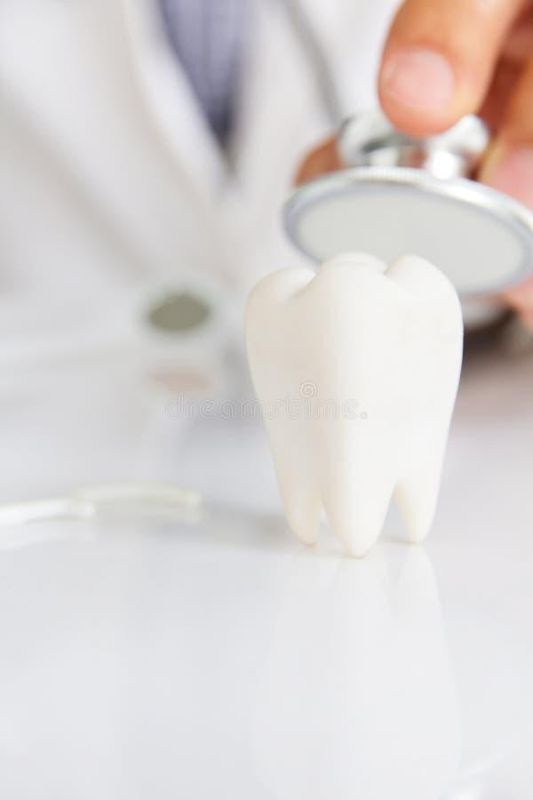 Muela con el fondo del dentista imagenes de archivo