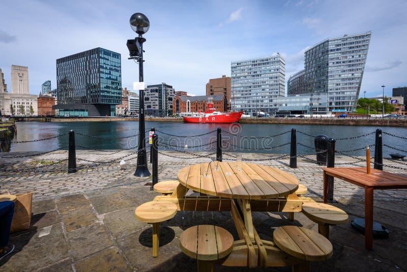 Muelle de enlatado y costa de Liverpool imagen de archivo libre de regalías