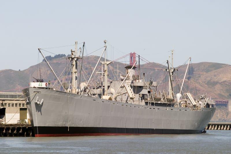 Muelle de la nave de guerra a partir de 45 grados imagen de archivo libre de regalías