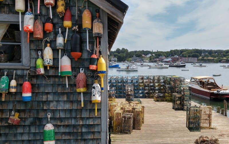 Muelle de la pesca de la langosta de Nueva Inglaterra fotos de archivo