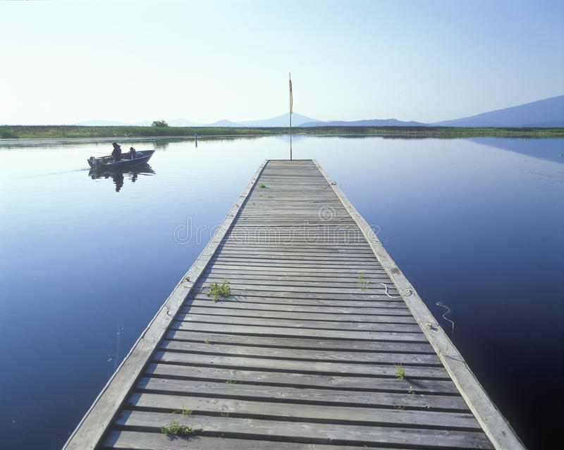 Muelle de la pesca, lago Klamath, O foto de archivo
