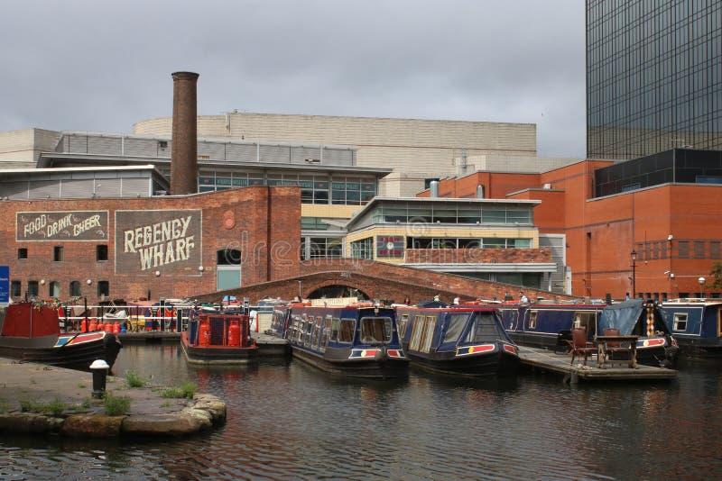 Muelle de la regencia y lavabo de la calle del gas, Birmingham foto de archivo libre de regalías