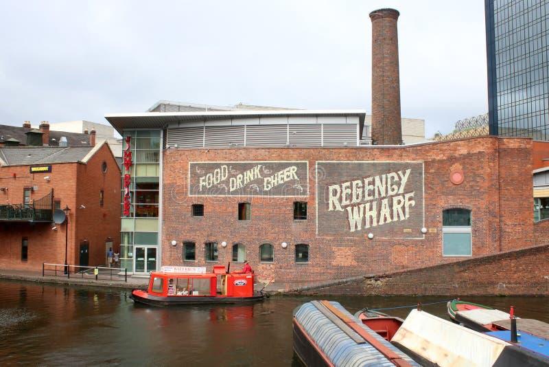 Muelle de la regencia y lavabo de la calle del gas, Birmingham foto de archivo