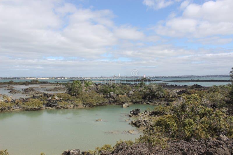 Muelle de Rangitoto, bahía de Hauraki, Auckland fotografía de archivo libre de regalías