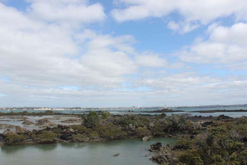Muelle de Rangitoto, bahía de Hauraki, Auckland foto de archivo libre de regalías