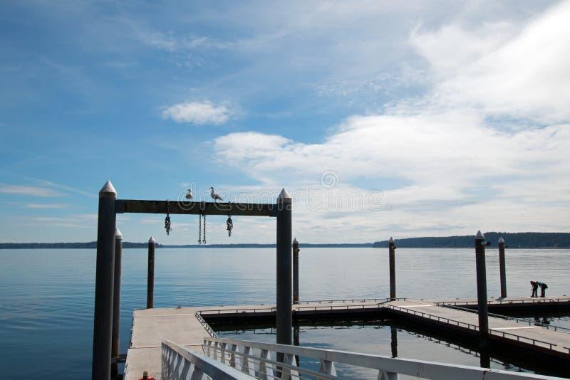 Muelle del barco del parque de estado de la playa de Joemma cerca de Tacoma Washington State fotos de archivo libres de regalías