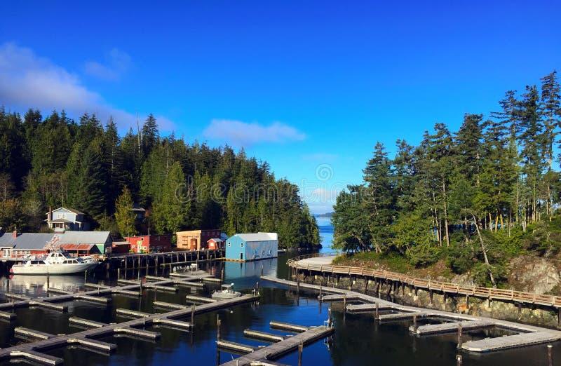 Muelle del barco en la ensenada del telégrafo, isla de Vancouver, A.C. imagen de archivo libre de regalías