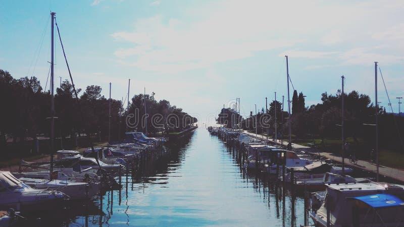 Muelle del barco en Portoroz/Eslovenia fotos de archivo