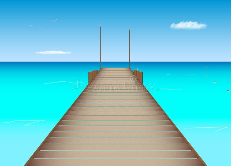 Muelle en la ubicación tropical ilustración del vector