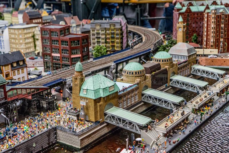 Muelle miniatura de Hamburgo - museo del país de las maravillas imagenes de archivo
