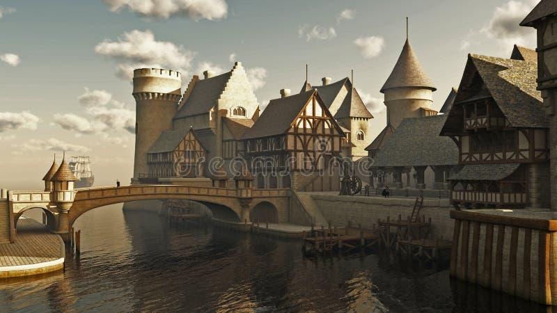 Muelles medievales o de la fantasía stock de ilustración