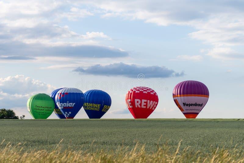 Muenchen,德国- 2018 6月2日,热空气气球differen增殖比 图库摄影