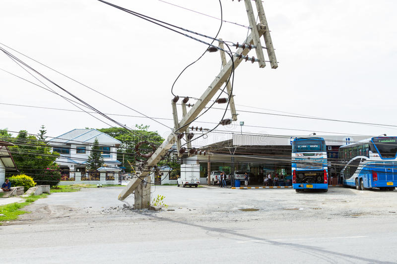 MUENG, PHUKET/THAILAND AUG 2015: Traffic turbulence caused by electricity pole damage on street due to heavy rain disaster on. AUG19, 2015 in Phuket,Thailand royalty free stock image