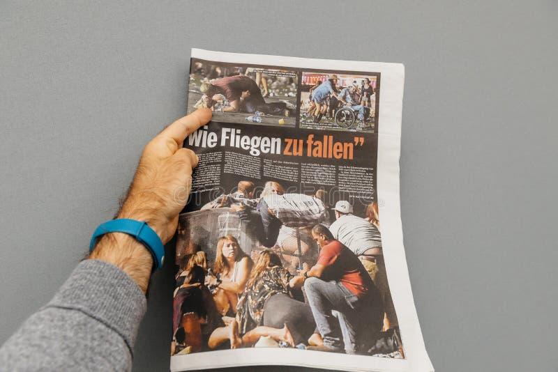 Muere la prensa alemana del bild que escribe sobre el tiroteo de los E.E.U.U. Las Vegas fotografía de archivo