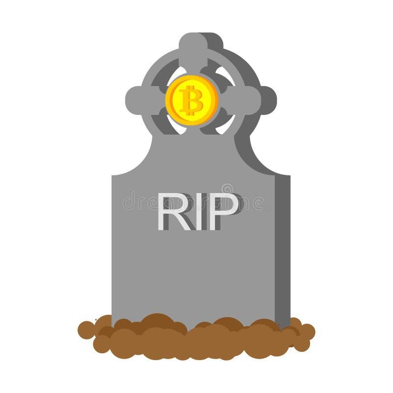 Muerte Bitcoin Caída de la moneda crypto Las citas de la moneda son caída libre illustration