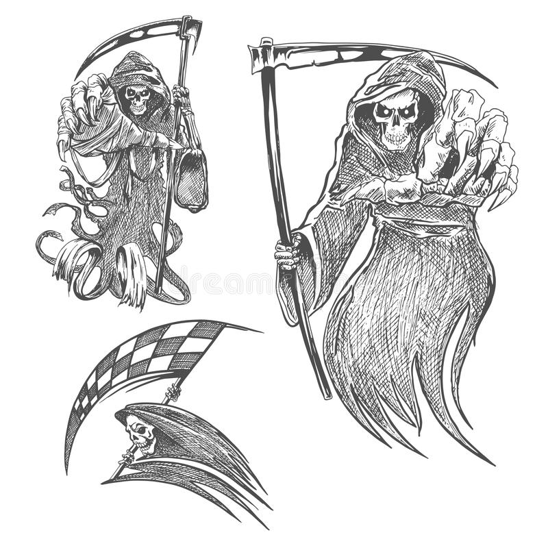 Muerte con bosquejo del lápiz de la guadaña stock de ilustración