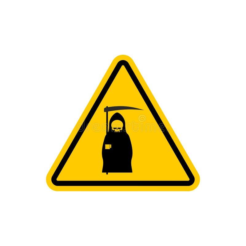 Muerte de la atención Peligros de la señal de tráfico amarilla Parca Cautio libre illustration