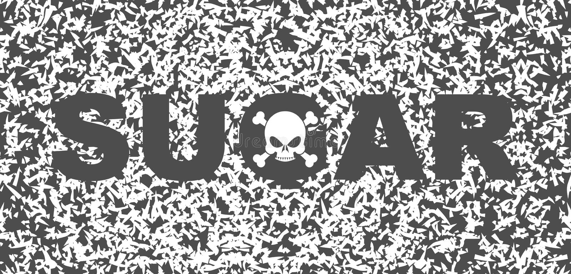 Muerte del blanco del azúcar Cráneo y texto en el fondo de los granos del azúcar libre illustration