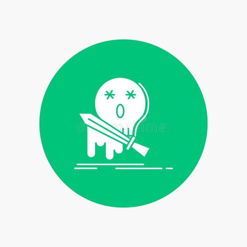 Muerte, frag, juego, matanza, icono blanco del Glyph de la espada en círculo Ejemplo del bot?n del vector stock de ilustración