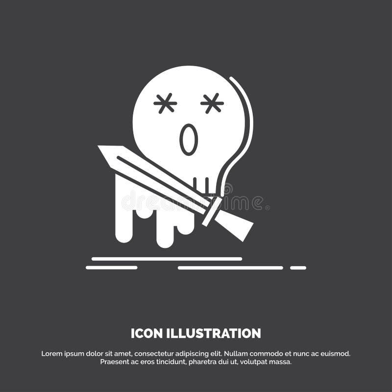 Muerte, frag, juego, matanza, icono de la espada s?mbolo del vector del glyph para UI y UX, p?gina web o aplicaci?n m?vil libre illustration