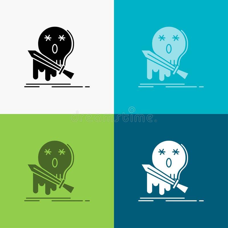 Muerte, frag, juego, matanza, icono de la espada sobre diverso fondo dise?o del estilo del glyph, dise?ado para el web y el app V stock de ilustración