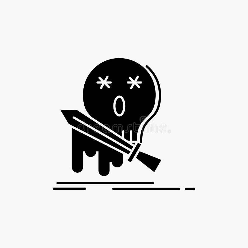 Muerte, frag, juego, matanza, icono del Glyph de la espada Ejemplo aislado vector ilustración del vector