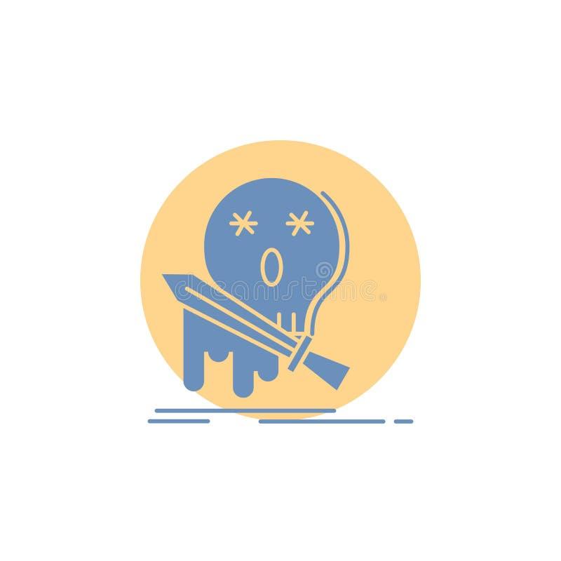 Muerte, frag, juego, matanza, icono del Glyph de la espada stock de ilustración