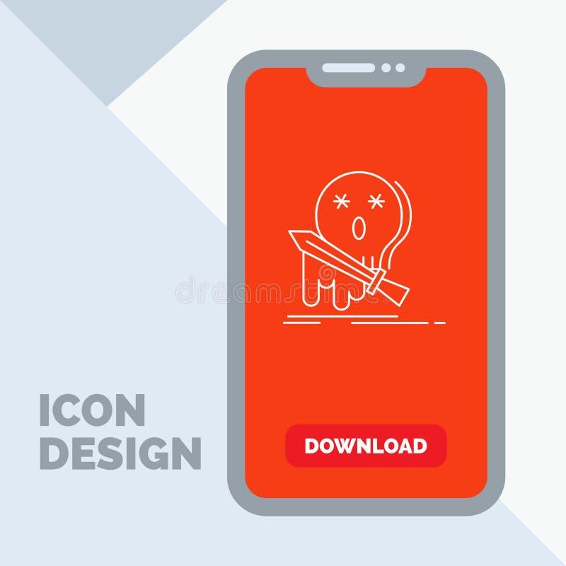 Muerte, frag, juego, matanza, línea icono de la espada en el móvil para la página de la transferencia directa libre illustration