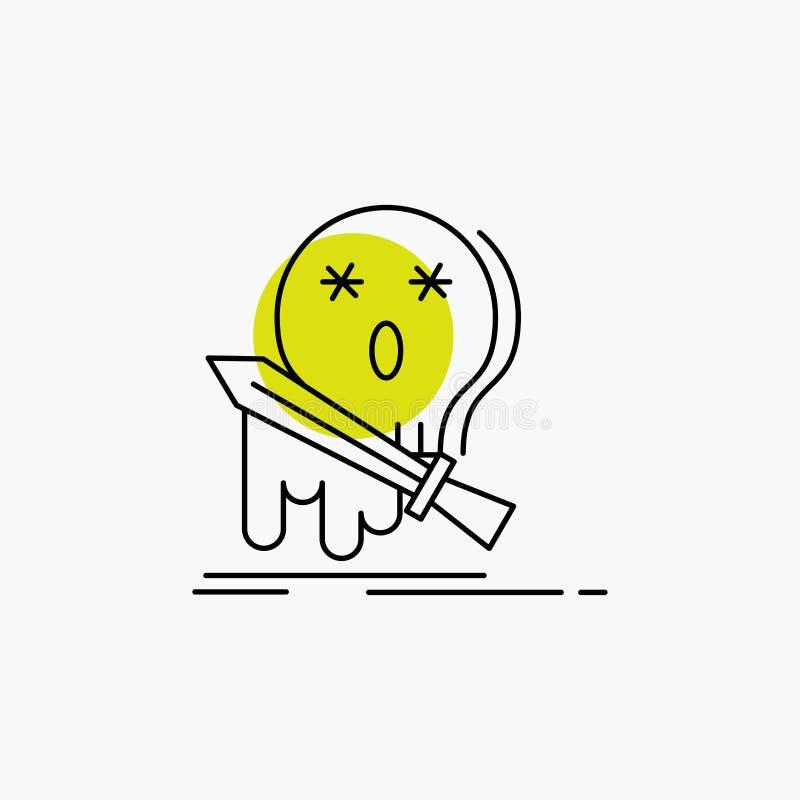 Muerte, frag, juego, matanza, línea icono de la espada libre illustration