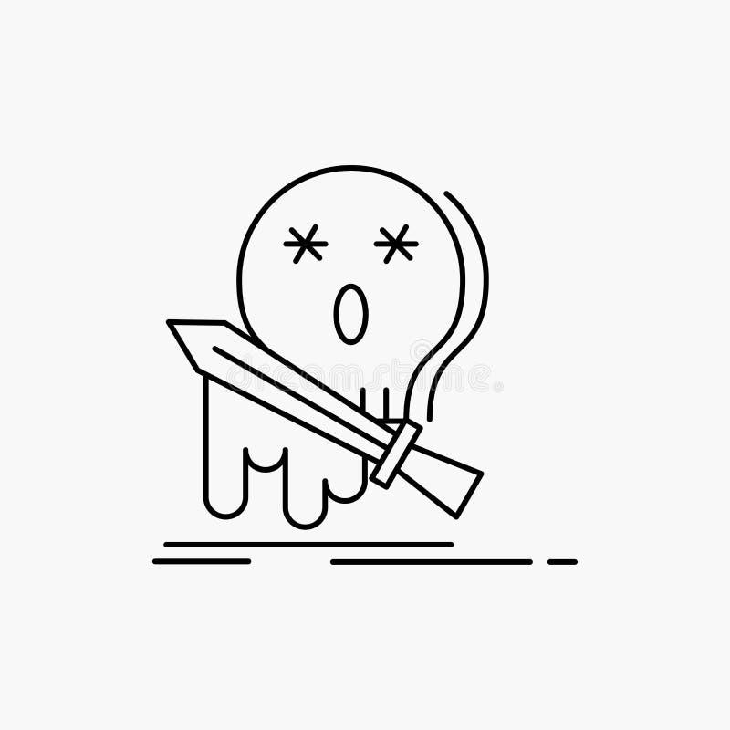 Muerte, frag, juego, matanza, l?nea icono de la espada Ejemplo aislado vector stock de ilustración