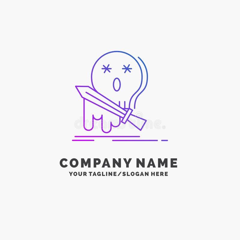 Muerte, frag, juego, matanza, negocio púrpura Logo Template de la espada Lugar para el Tagline ilustración del vector