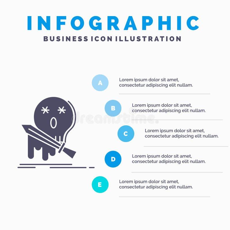 Muerte, frag, juego, matanza, plantilla de Infographics de la espada para la página web y presentación Icono gris del GLyph con e stock de ilustración