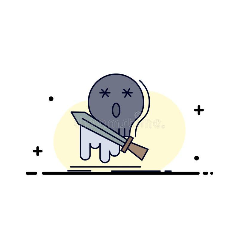 Muerte, frag, juego, matanza, vector plano del icono del color de la espada libre illustration