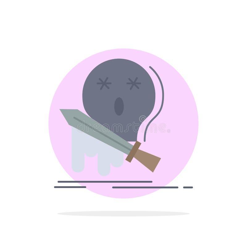 Muerte, frag, juego, matanza, vector plano del icono del color de la espada ilustración del vector
