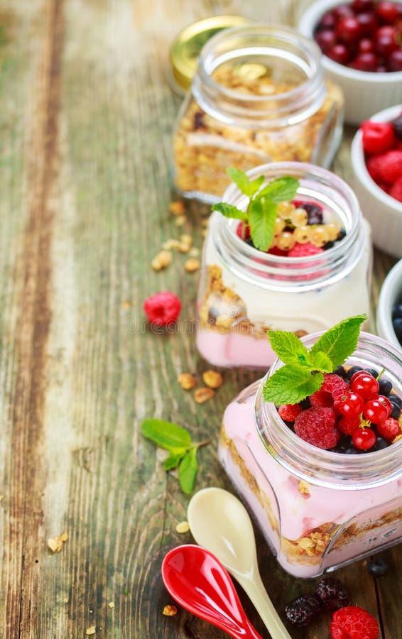 Muesli和酸奶用莓果 免版税库存图片