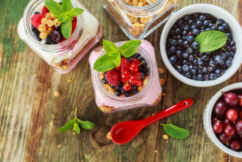 Muesli和酸奶用莓果 免版税库存照片