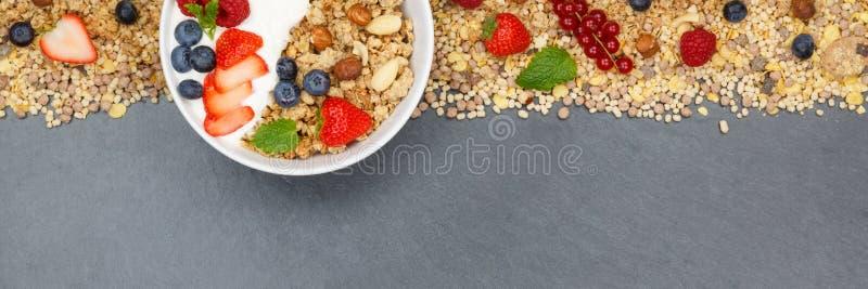 Muesli早餐水果酸牛奶草莓谷物莓果滚保龄球 免版税库存照片