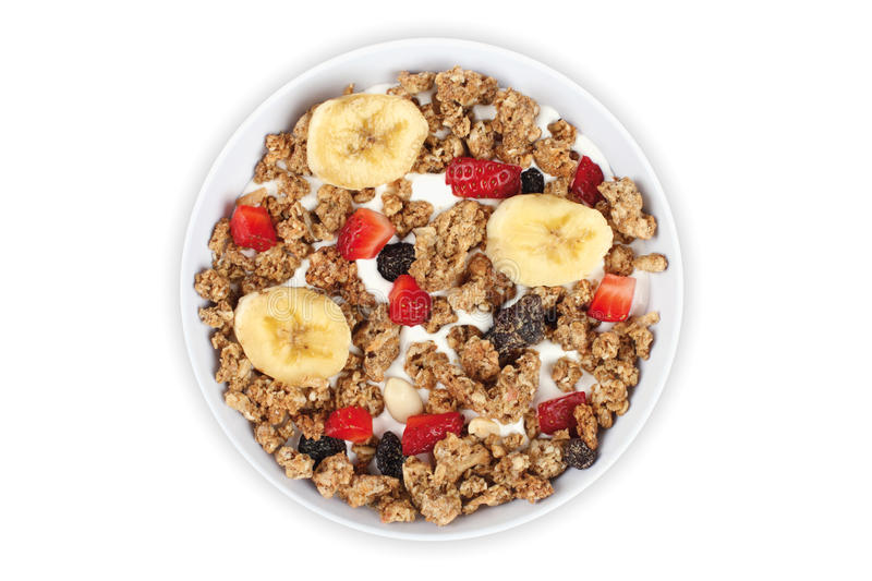 Muesli. With banana and strawberry on white background stock photography