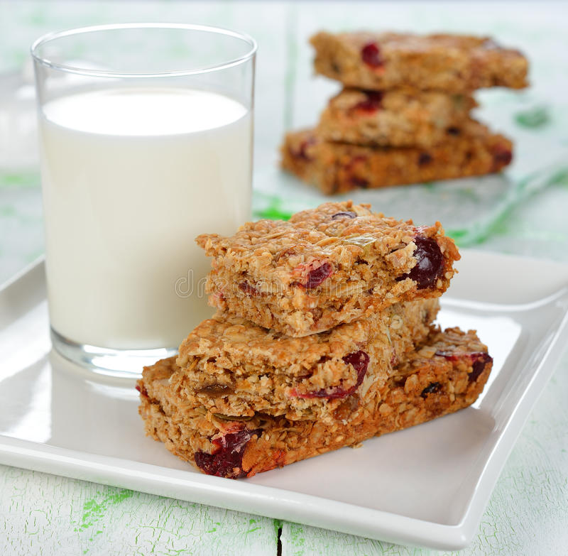 Muesli bars. On a white table stock image