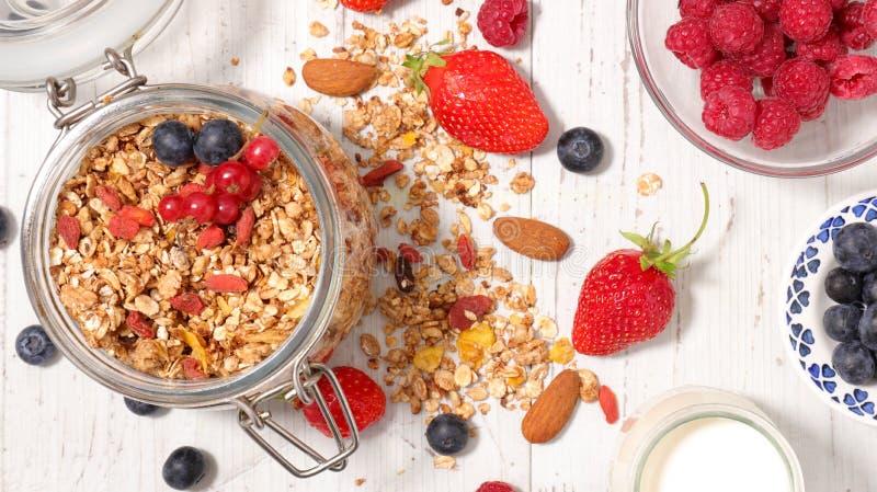 Muesli and berries. Top view royalty free stock photo