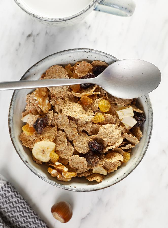 Muesli breakfast from above royalty free stock photography