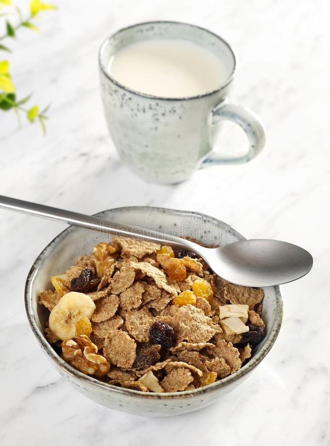 Muesli breakfast from above stock images