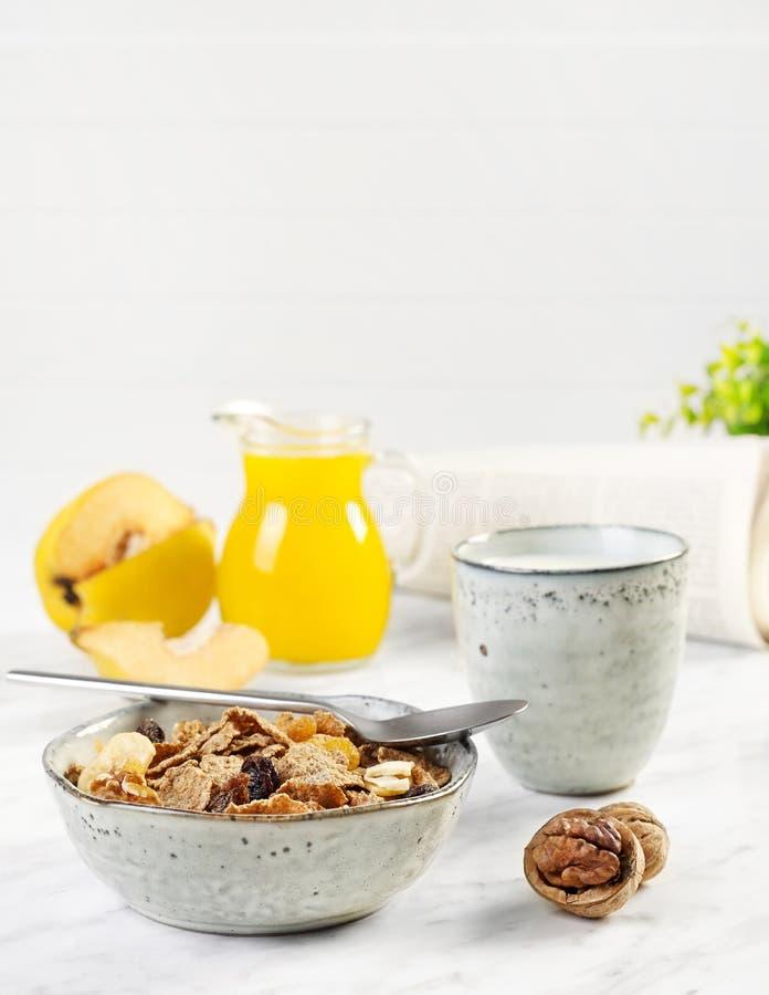Muesli breakfast closeup stock photography