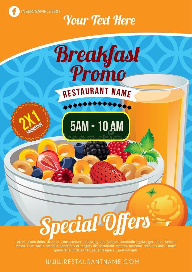 Muesli do folheto do café da manhã ilustração royalty free