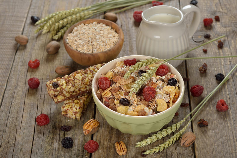 Muesli with dried fruits royalty free stock image